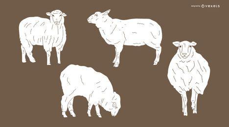 Design de silhueta detalhada de ovelhas