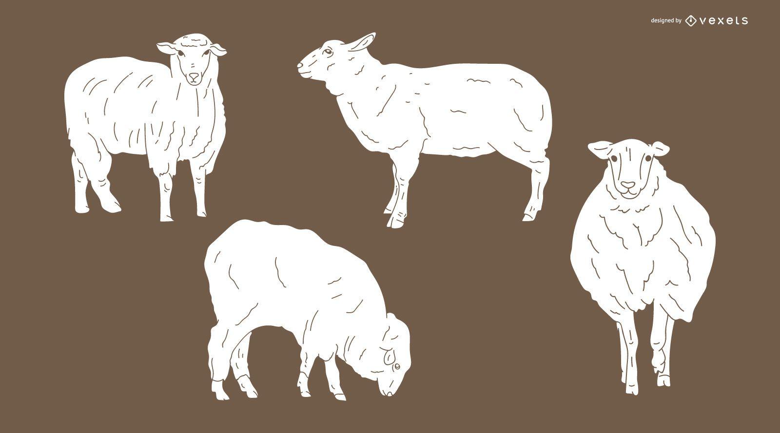 Desenho de silhueta detalhada de ovelhas