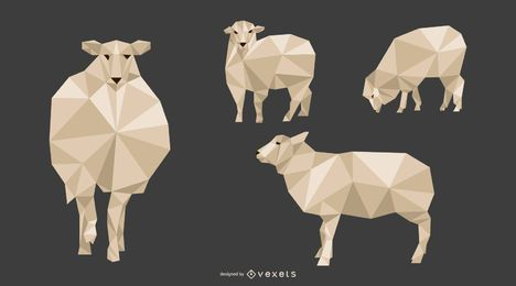 Ovejas Lowpoly Vector Style