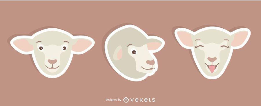 Conjunto de adesivos de ovelhas