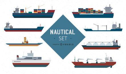 Conjunto de vetores de navio náutico