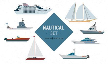 Conjunto de vetores de navios náuticos