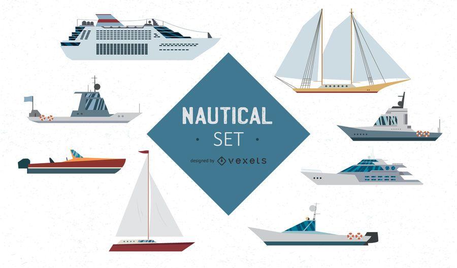 Conjunto de vectores de barcos náuticos