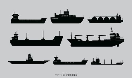 Conjunto de vetores de silhueta de navio