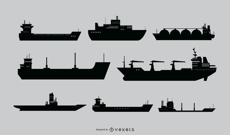 Conjunto de vectores de silueta de barco