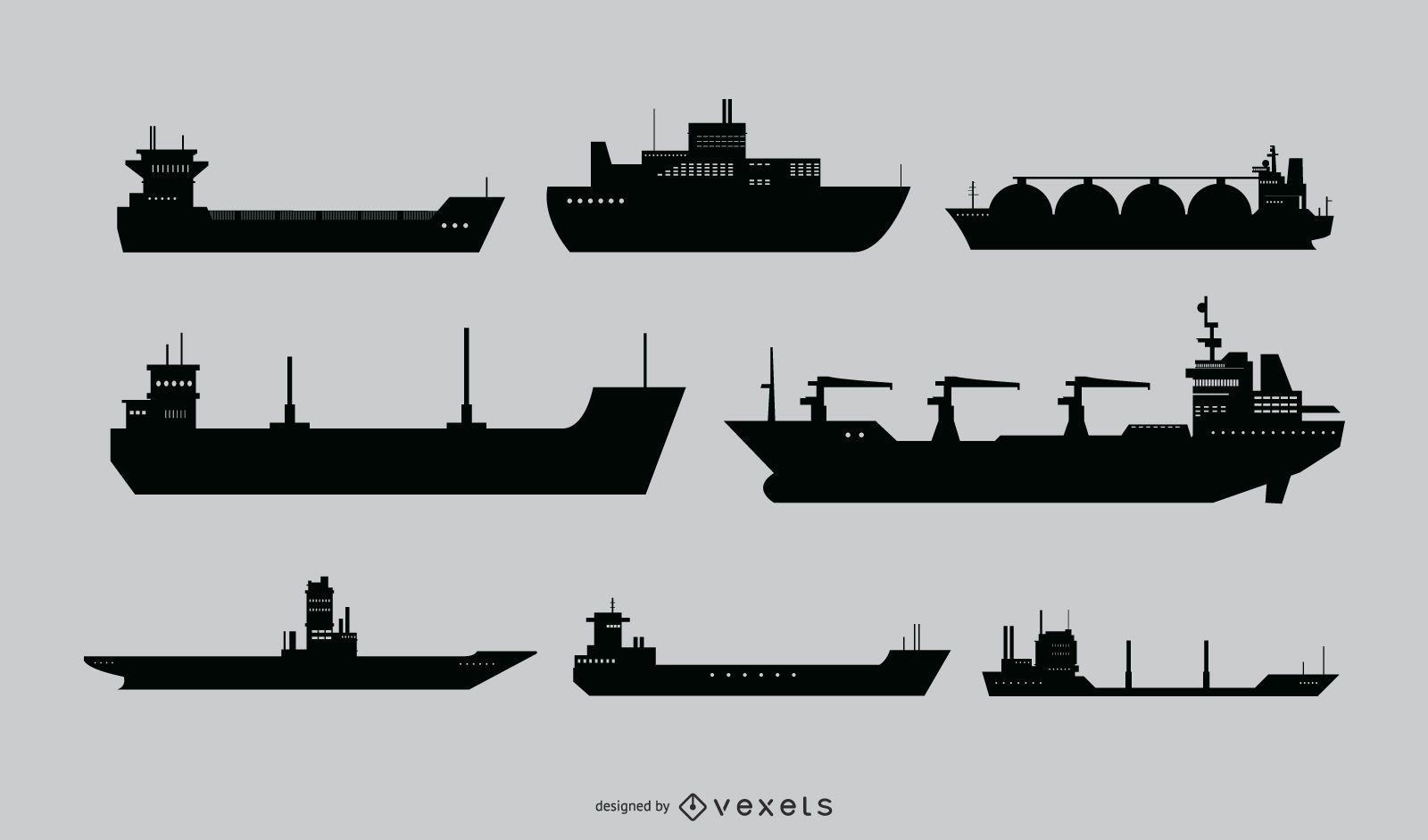 Ship Silhouette Vector Set