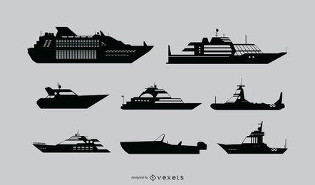 Conjunto de silhueta detalhada de navio