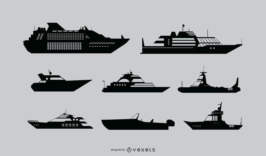 Ship Detailed Silhouette Set