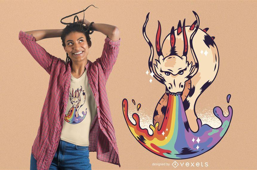 Projeto do t-shirt da chama do dragão do arco-íris