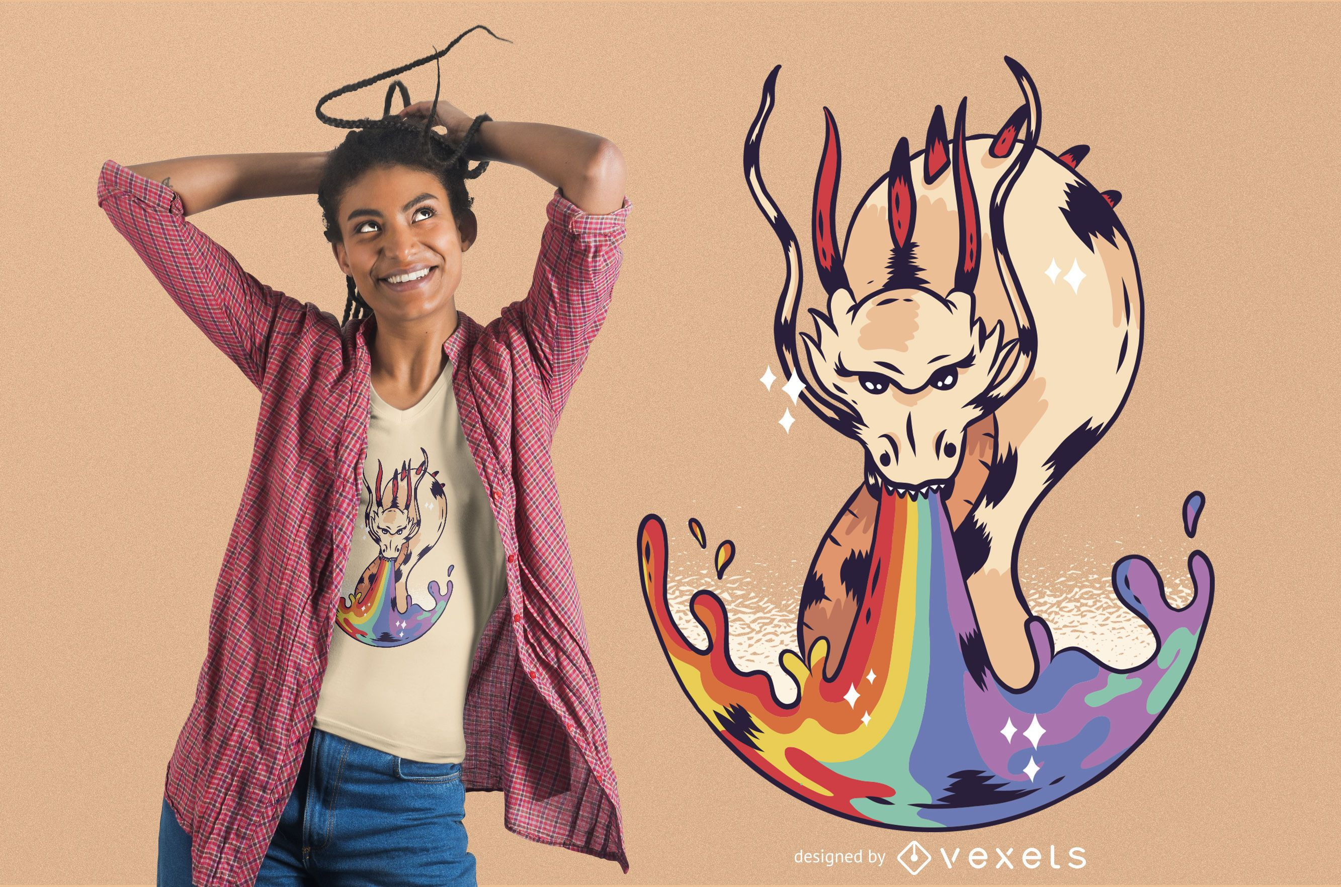 Rainbow Dragon Flame T-shirt Design