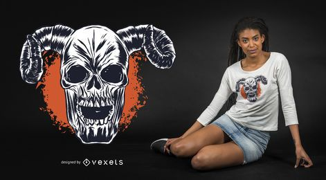 Horned Skull T-shirt Design