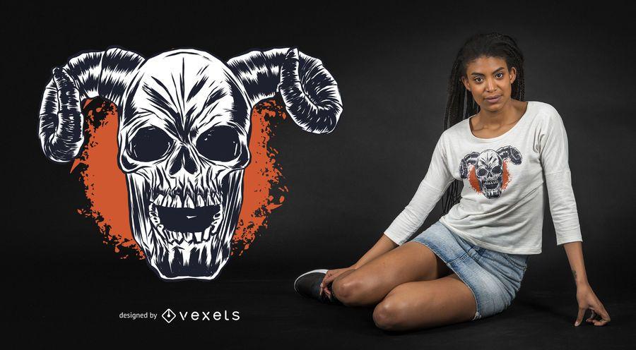 Diseño de camiseta de calavera con cuernos