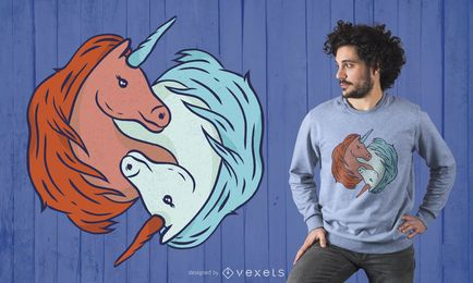 Diseño de camiseta Unicorn YingYang