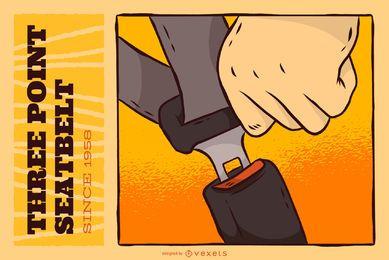Cartel de invención del cinturón de seguridad