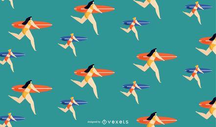diseño de patrón de chicas surfista