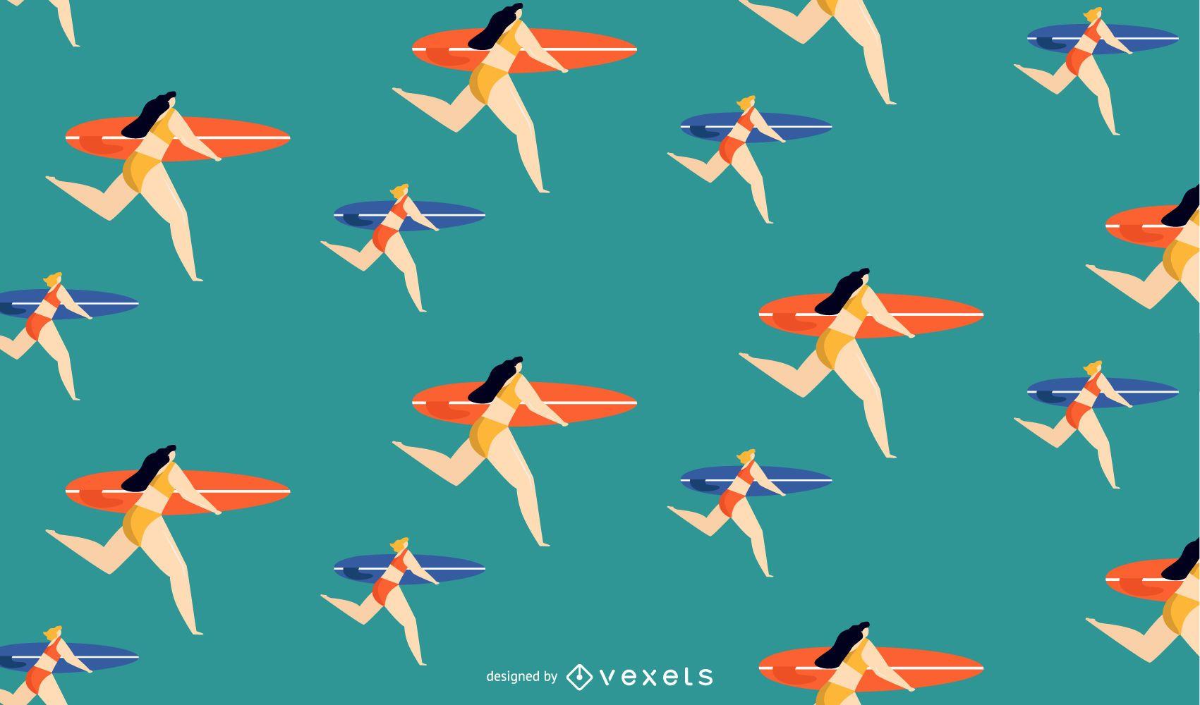 surfer girls pattern design