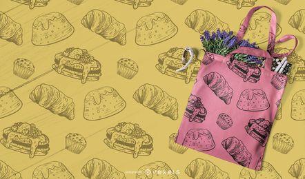 mão desenhada sobremesas padrão design
