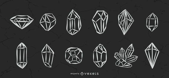 Illustrierte Kristalle Set