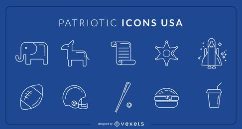 Iconos patriotas de estados unidos