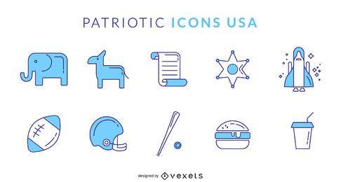 América arredondado ícones EUA