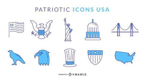 Ícones azuis patrióticos EUA