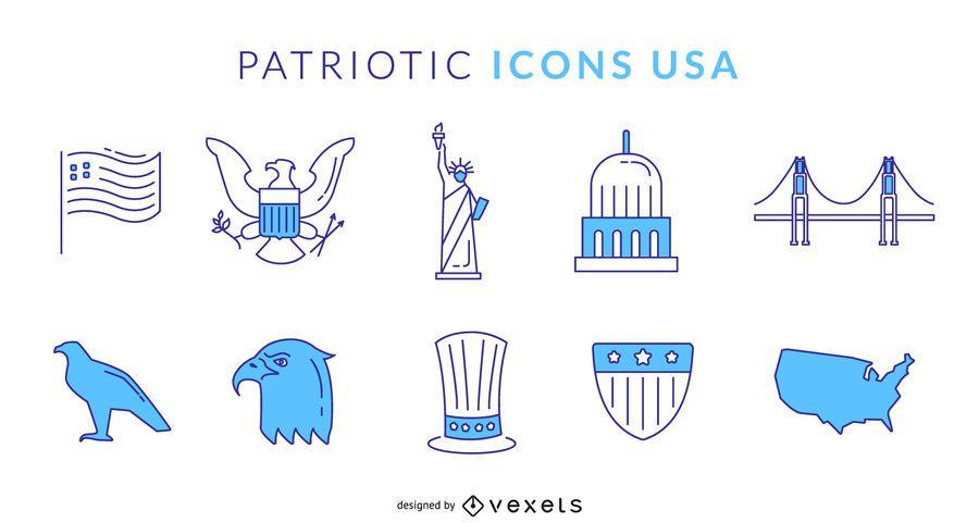 Patriótico, azul, ícones, eua