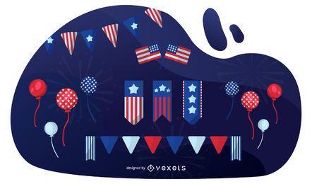 Conjunto de elementos patrióticos americanos