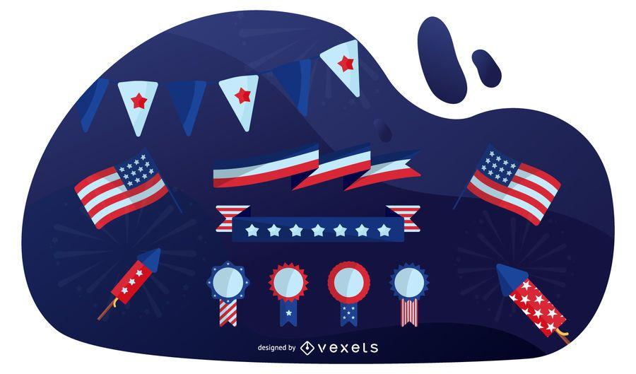 Conjunto de Design de elementos patrióticos EUA