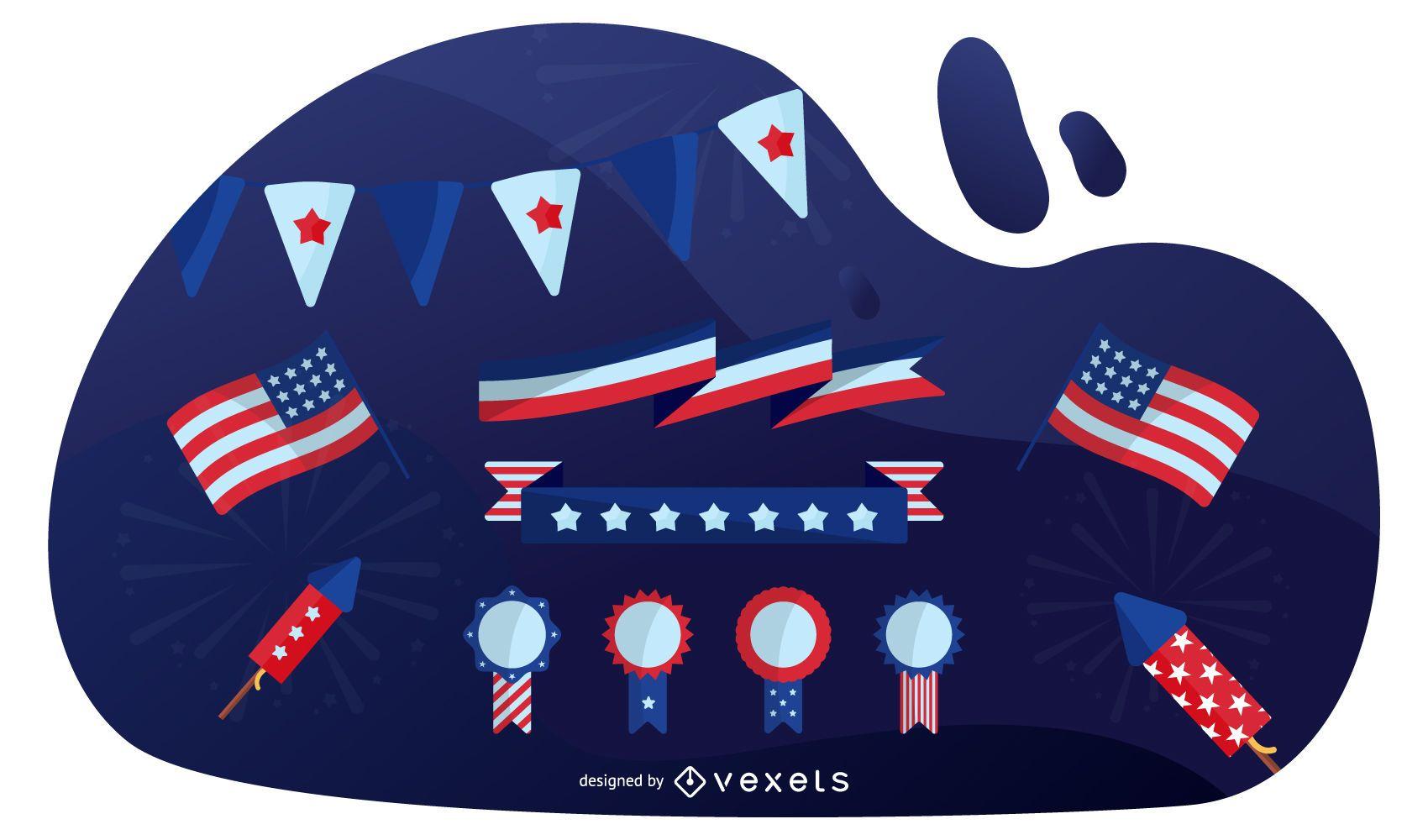Conjunto de diseño de elementos patrióticos de Estados Unidos