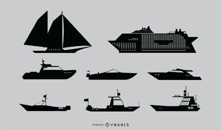 Conjunto de silhueta de navio náutico