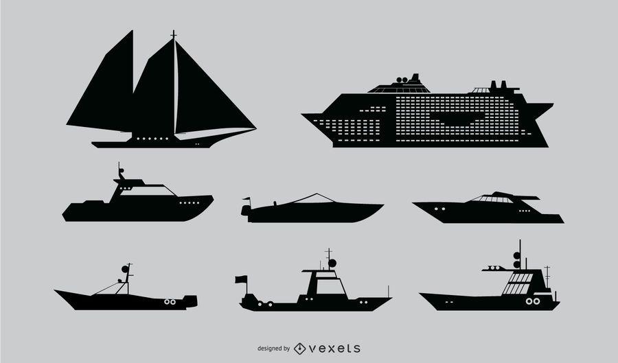 Conjunto de silueta de barco náutico