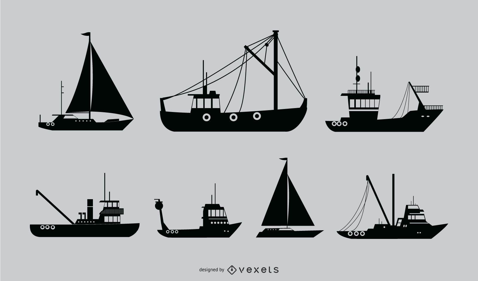 Diseño de silueta de barco náutico