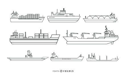 Design de vetor de estilo de linha de navio