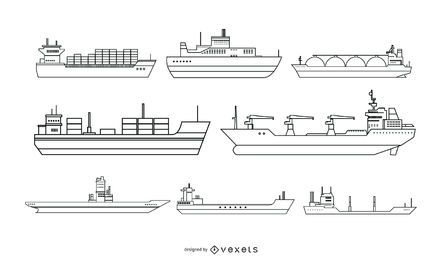 Línea de barco de diseño de vectores de estilo