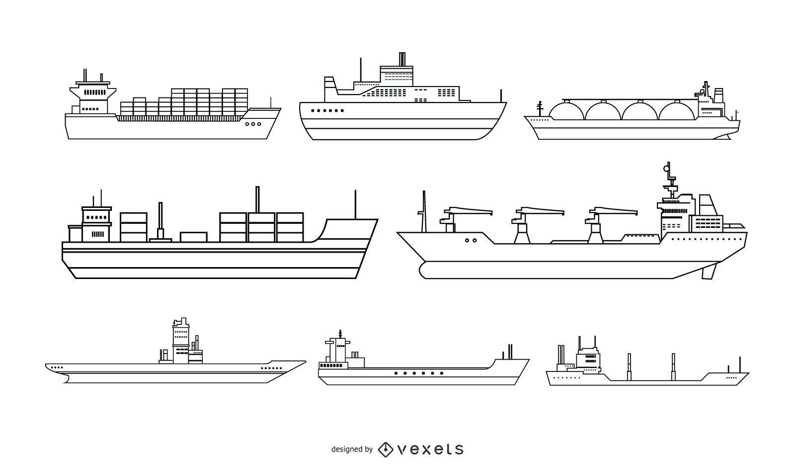 Ship Line Style Vector Design