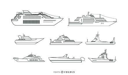 Conjunto de vectores de barcos de ocio