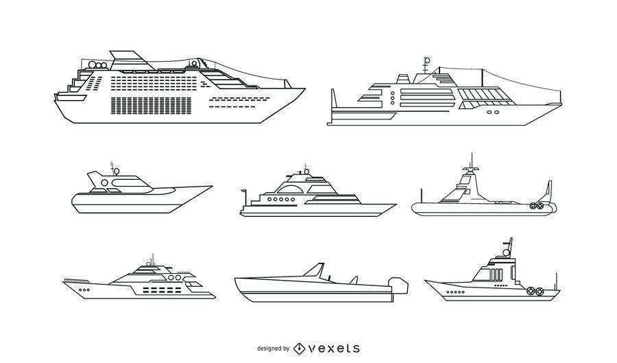 Conjunto de vetores de navios de lazer