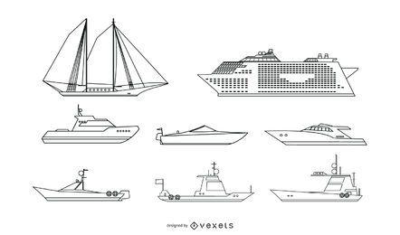 Conjunto de vetores de linha de navio de passageiros