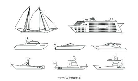 Passenger Ship Line Vector Set