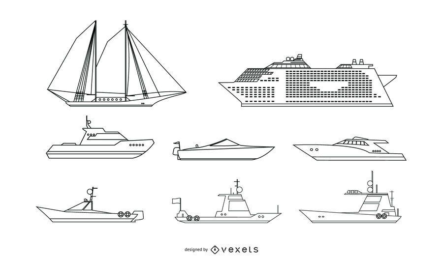 Passenger Ship Line Vector Set