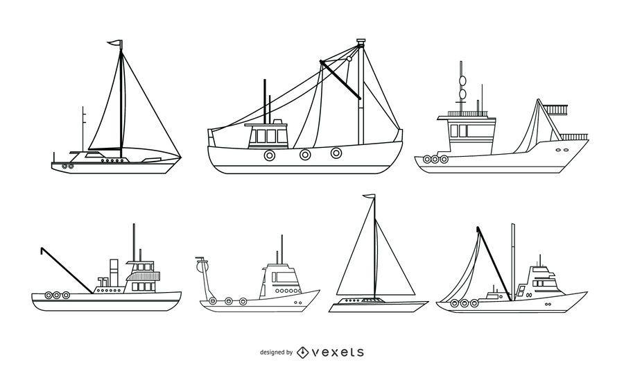 Colección de vectores de barcos náuticos