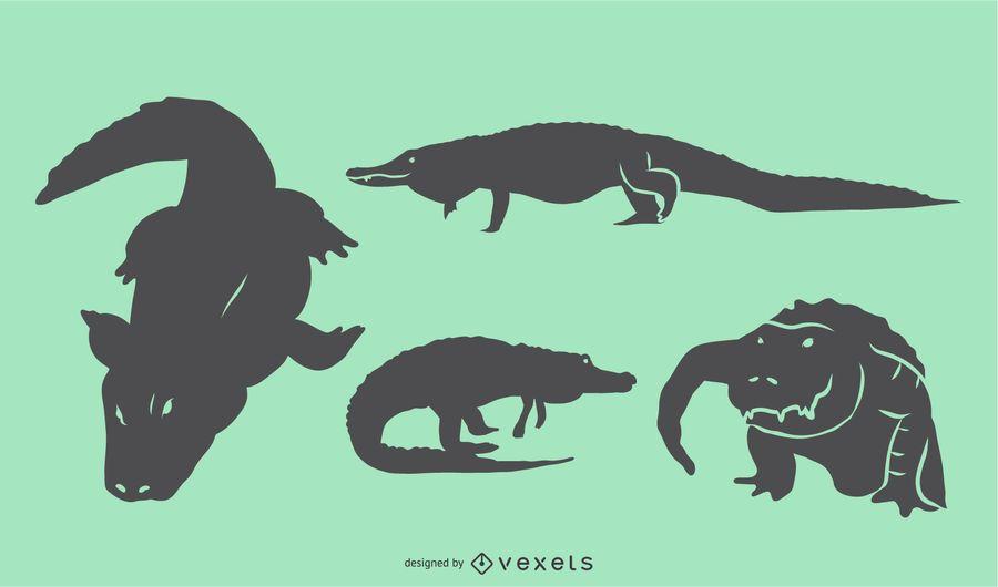 Alligator Silhouette Set