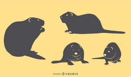 Beaver Silhouette Set