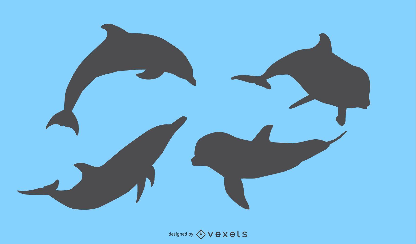 Diseño de silueta de delfín