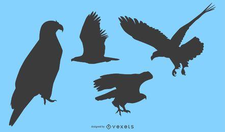 Conjunto de silhueta de águia de 4