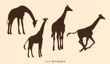 Paquete silueta animal jirafa