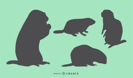 Coleção de silhueta de marmota