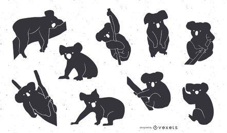 Conjunto de Design de silhueta de coala