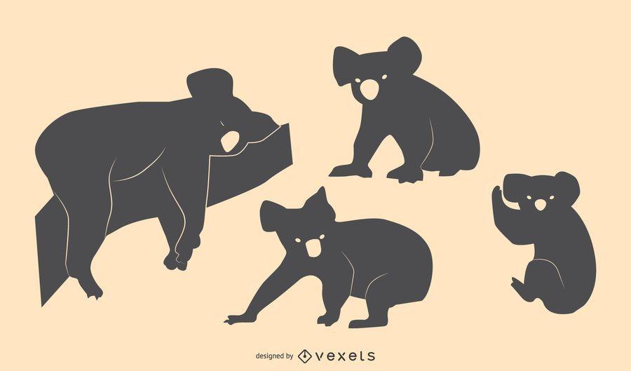 Conjunto de diseño de silueta de Koala