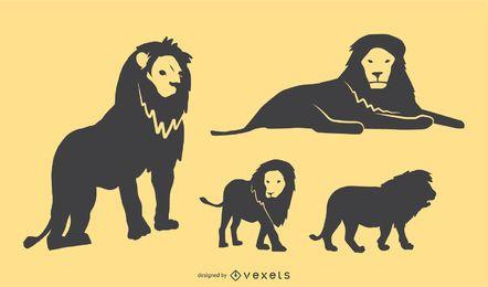 Conjunto de Design de silhueta de leão